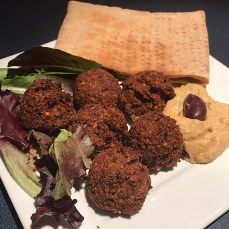 Made from scratch Falafel with Pitta Pocket and Humus. Healthy Vegetarian option.